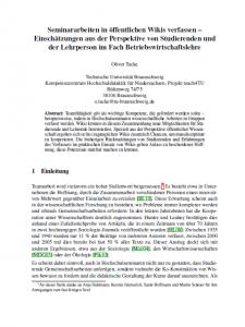 Seminararbeiten in öffentlichen Wikis verfassen – Einschätzungen aus der Perspektive von Studierenden und der Lehrperson im Fach Betriebswirtschaftslehre